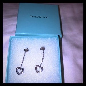 Authentic Tiffany and Co. heart drop earrings